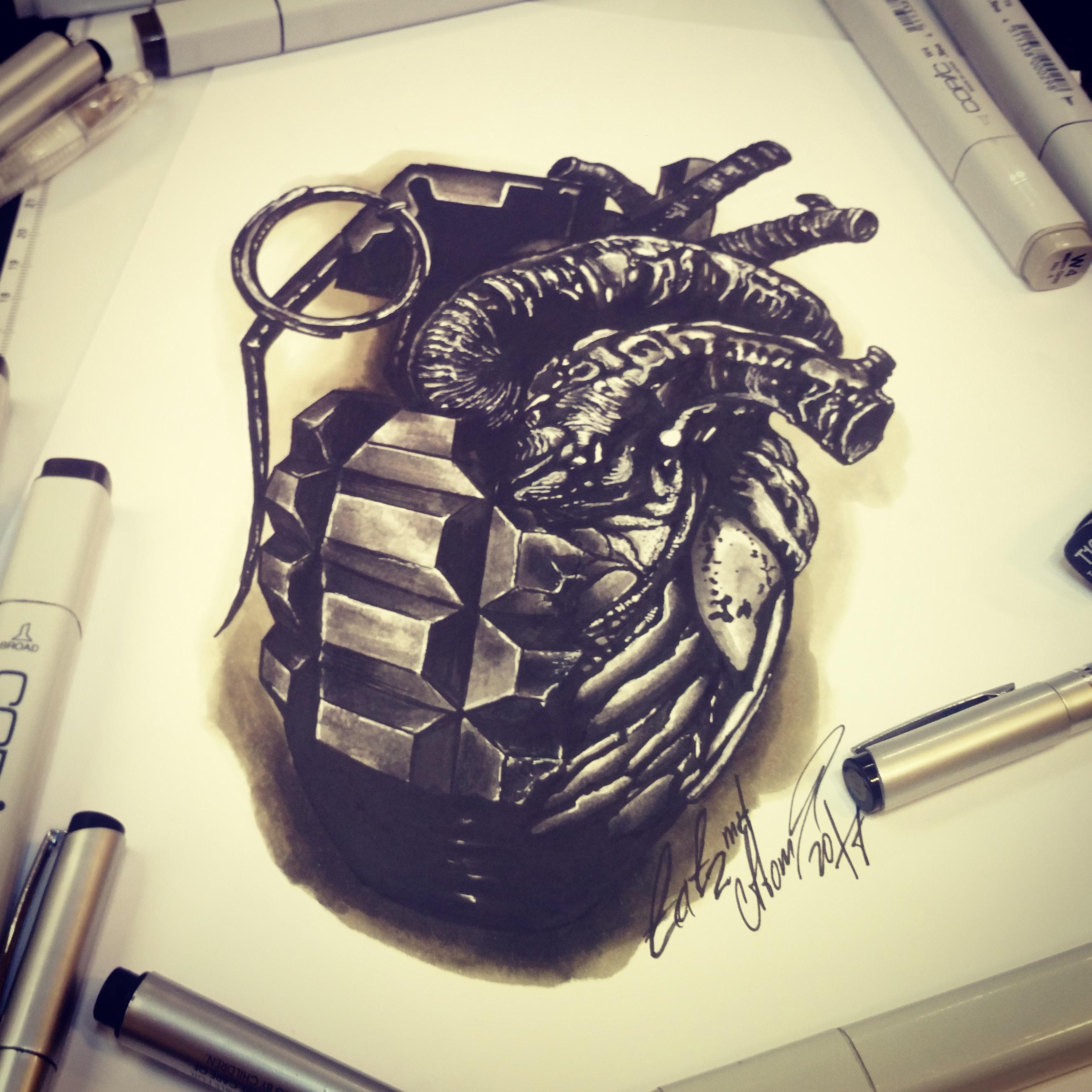 Тату эскиз граната и сердце