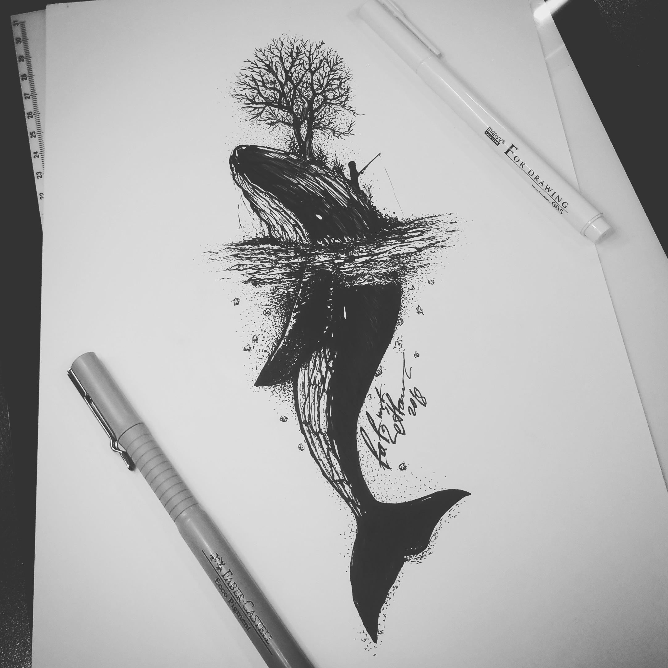 Тату эскиз кит и остров