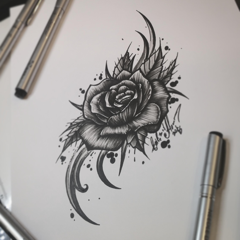 Тату эскиз роза и орнамент