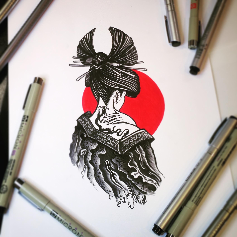 Тату эскиз в японском стиле