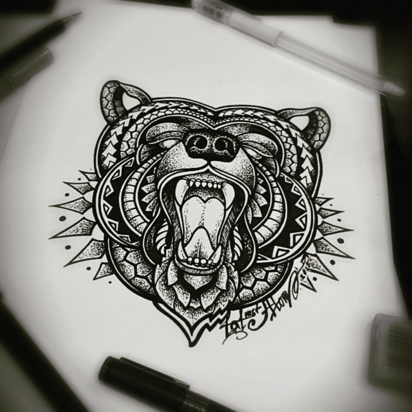 тату эскиз медведь в орнаменте