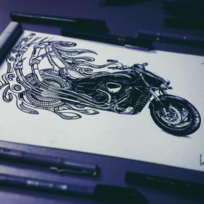 тату эскиз мотоцикл