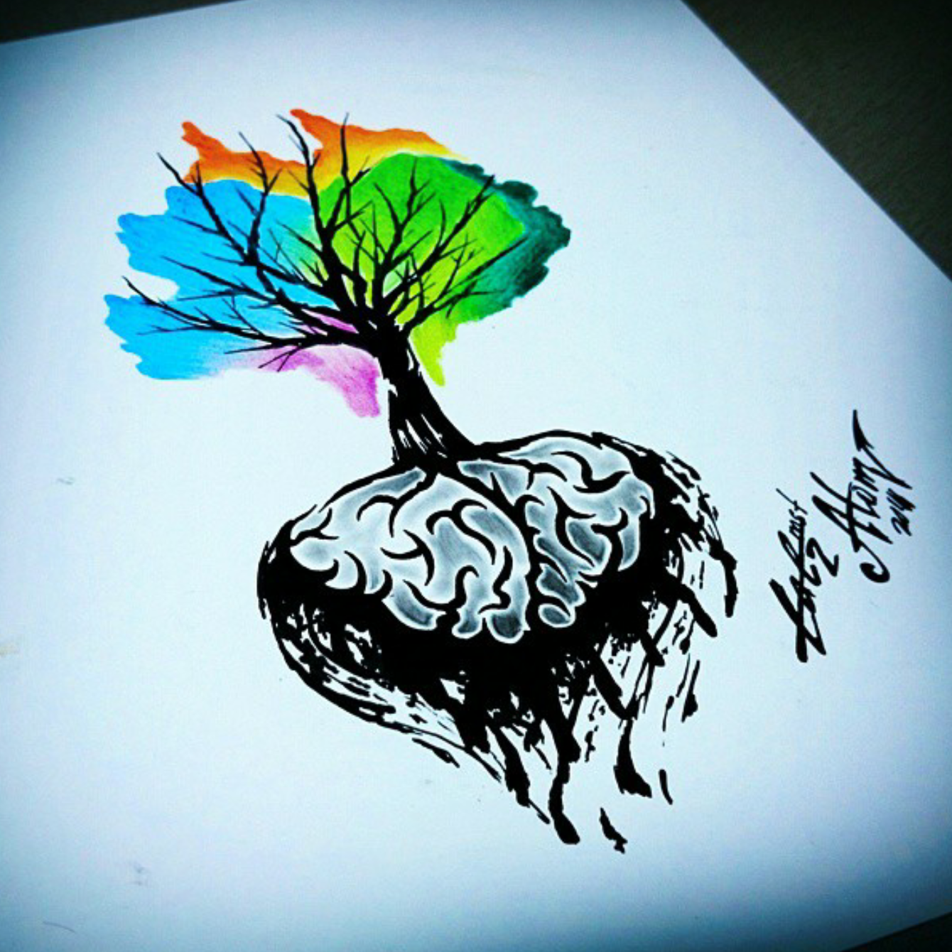 тату эскиз мозг и дерево