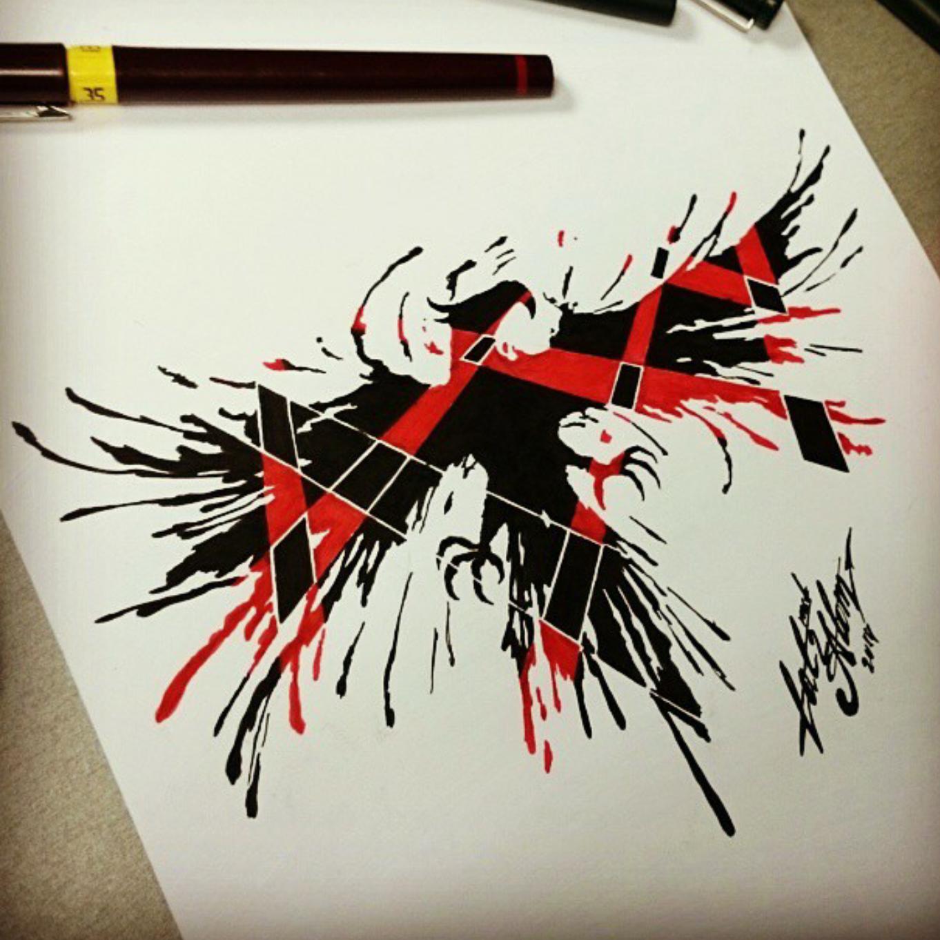 тату эскиз орел черно красный
