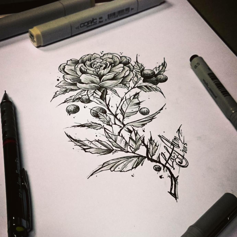 тату эскиз роза графика