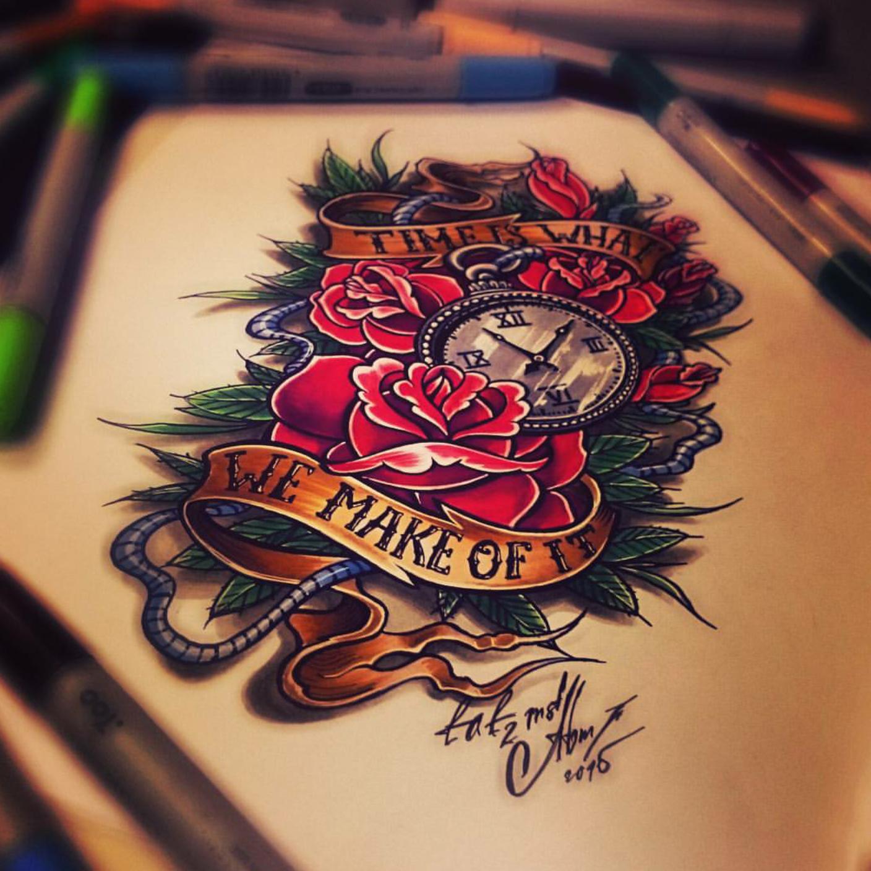 тату эскиз розы и часы