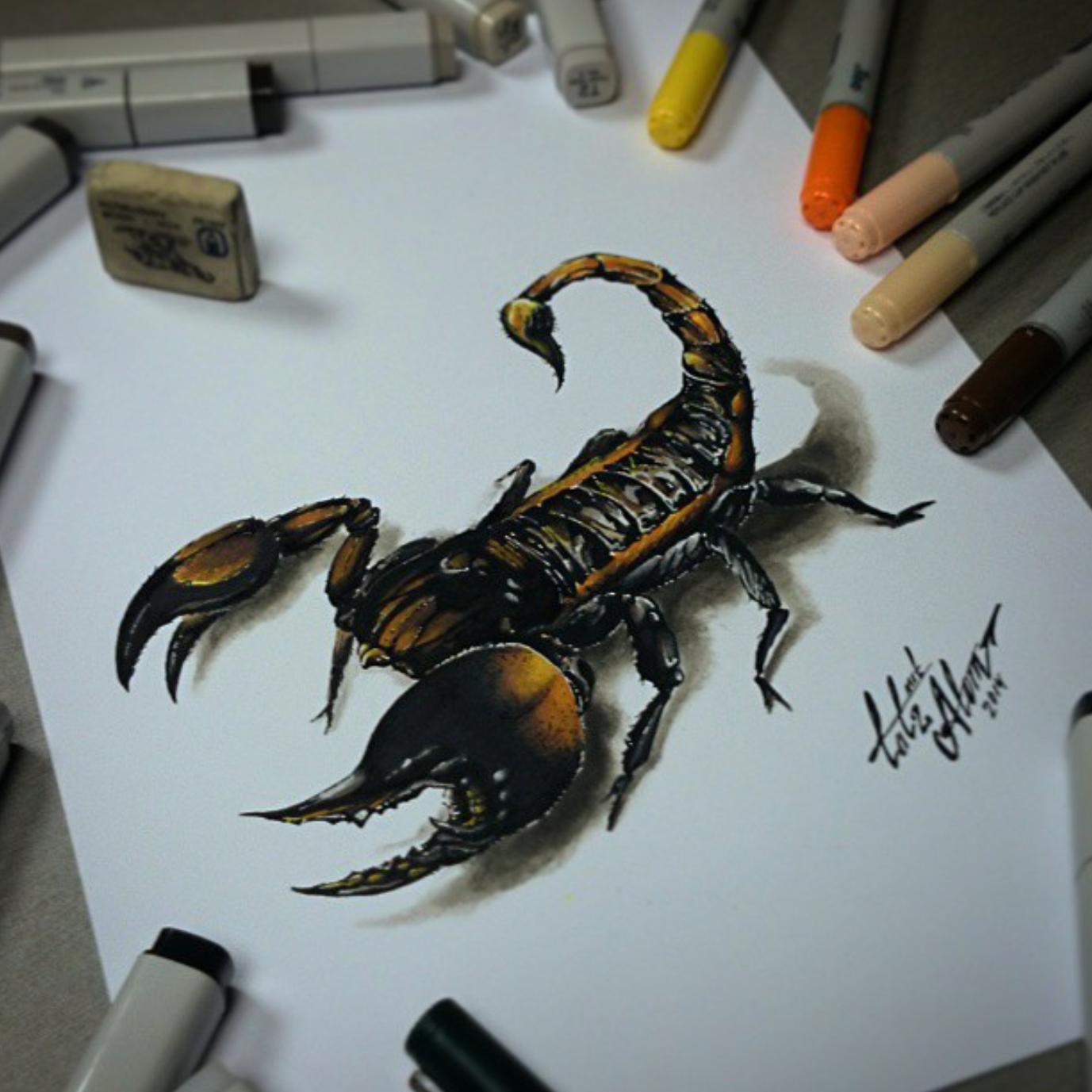 тату эскиз скорпион