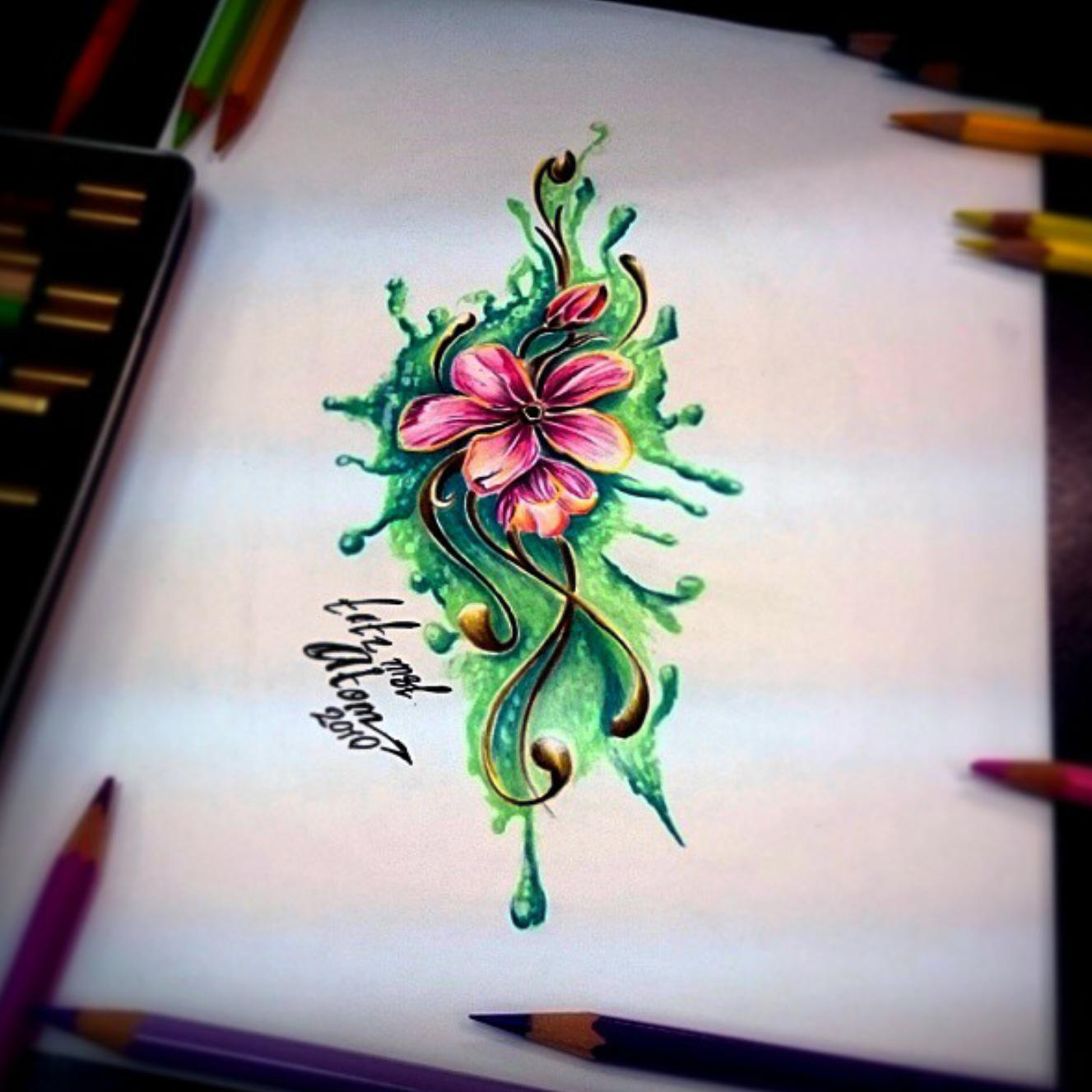 тату эскиз цветок