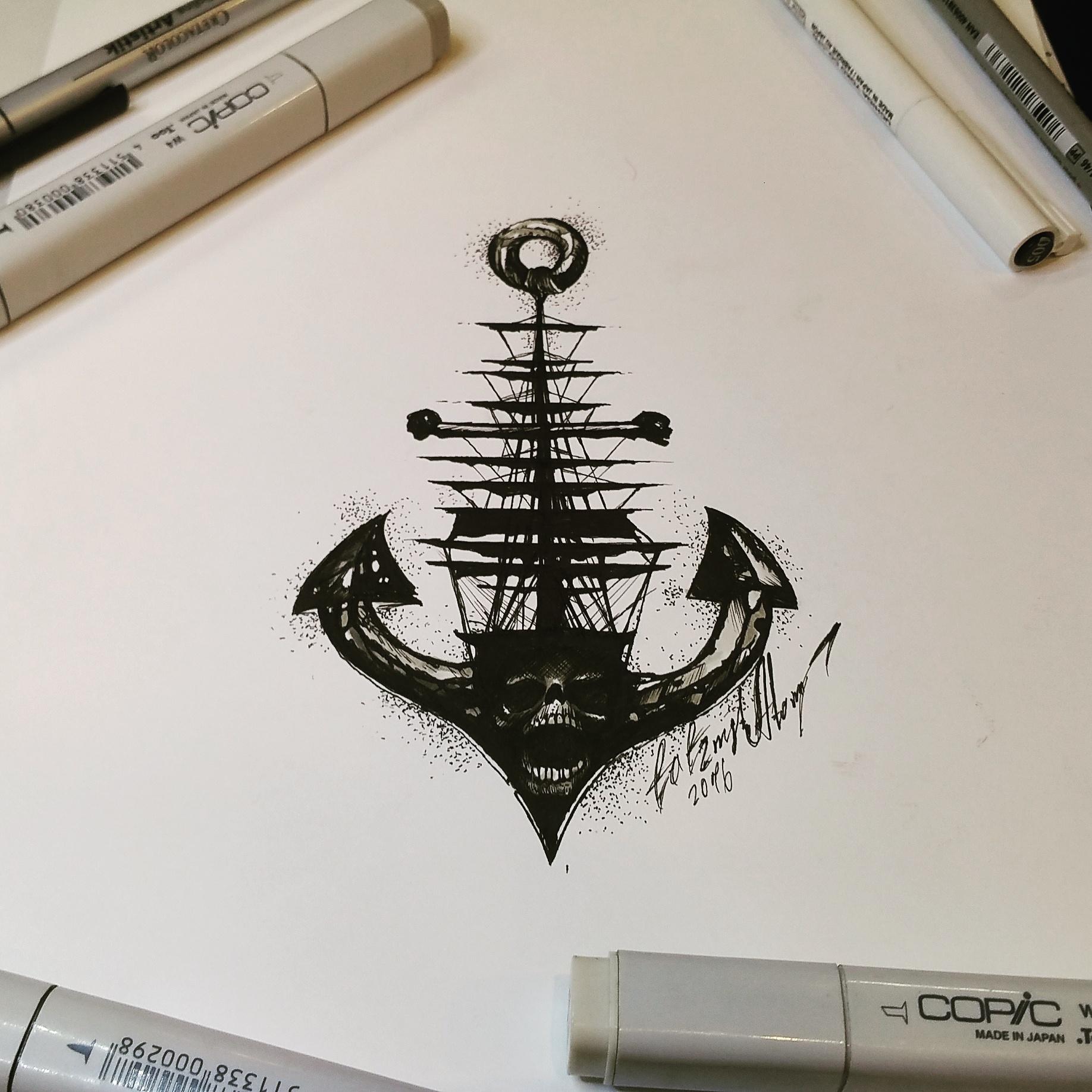 тату эскиз якорь и корабль