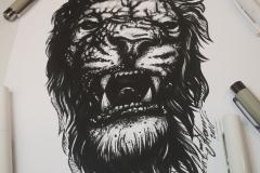 Тату эскиз голова льва