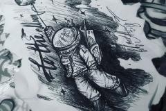 Тату эскиз космонавт