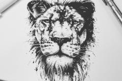 Тату эскиз лев