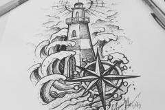 Тату эскиз маяк