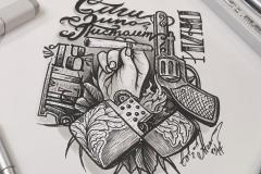 Тату эскиз - сига зипо пистолет