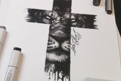 Тату эскиз тигр и крест