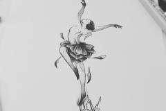 тату эскиз балерина и цветы
