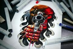 тату эскиз череп и пистолет