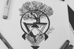 тату эскиз дерево в круге