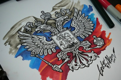 тату эскиз герб на флаге