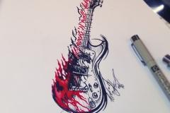 тату эскиз гитара
