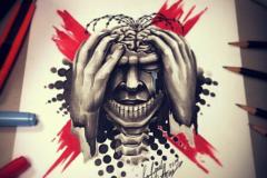 тату эскиз головная боль
