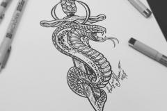 тату эскиз кинжал и змея