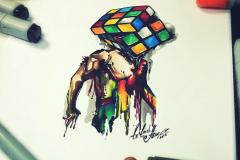 тату эскиз кубик рубик