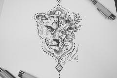тату эскиз львица и цветы