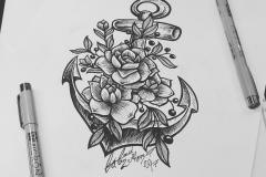 тату эскиз якорь и цветы