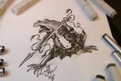 тату эскиз жаба самурай