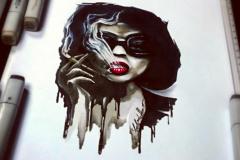 тату эскиз женщина с сигаретой