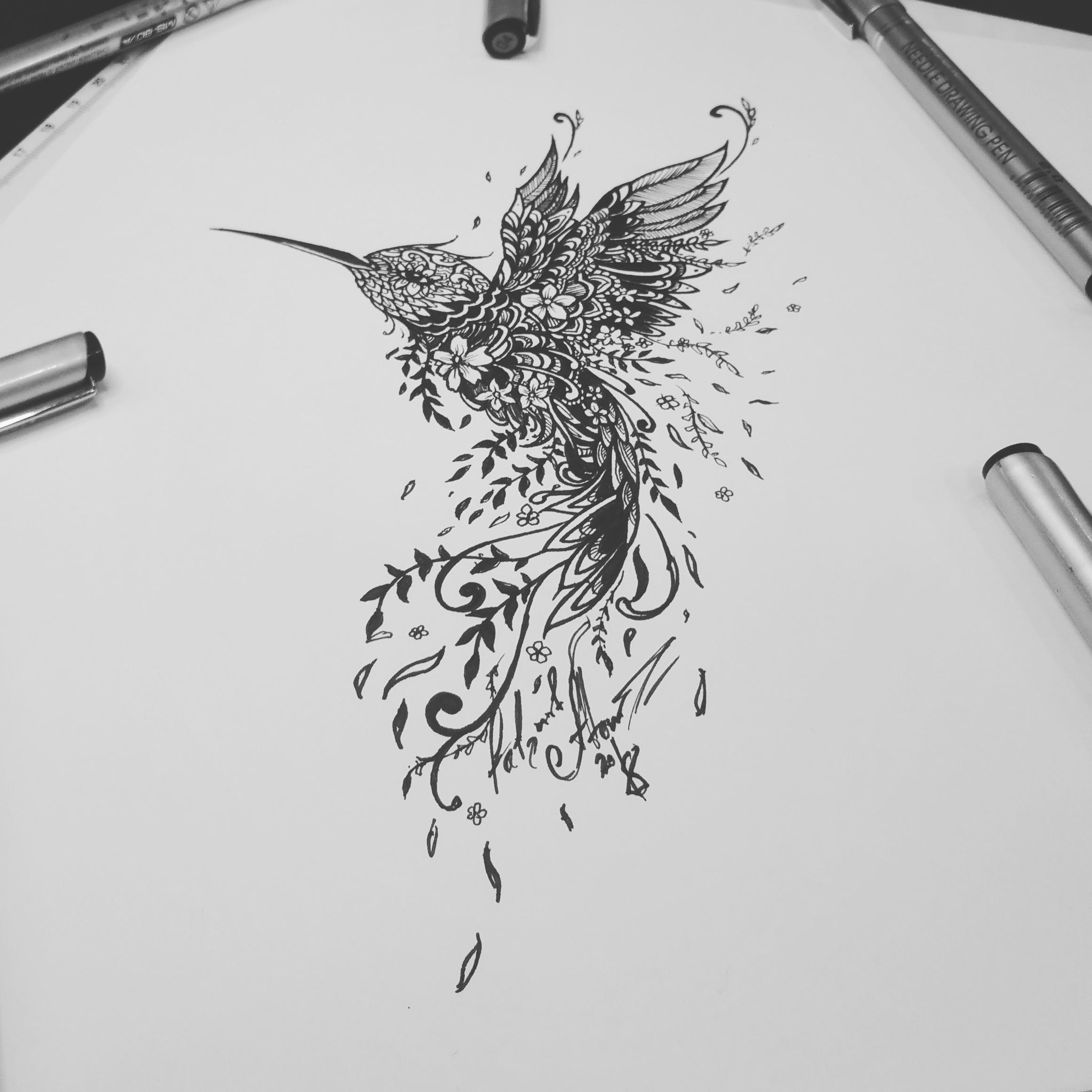 Тату эскиз колибри