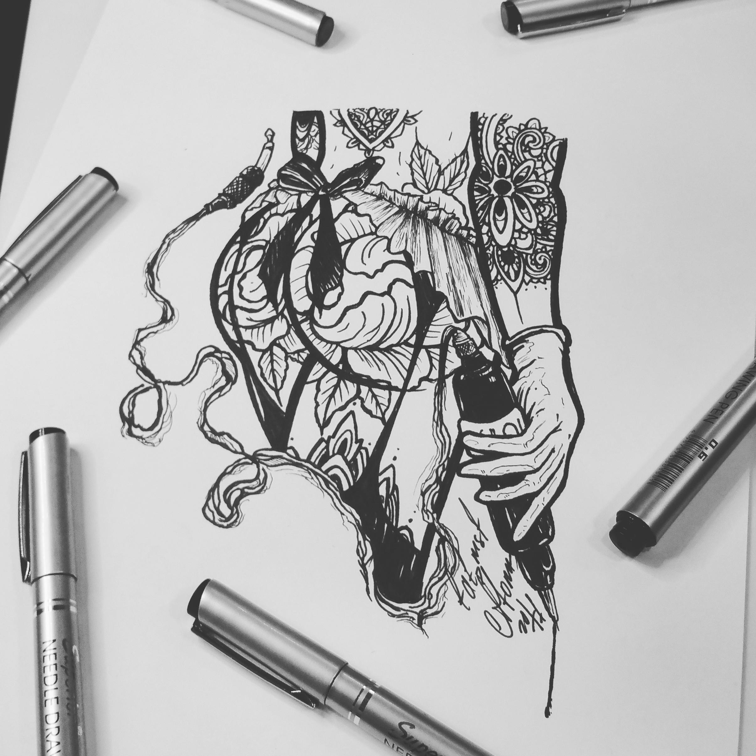 Тату эскиз татуировщица