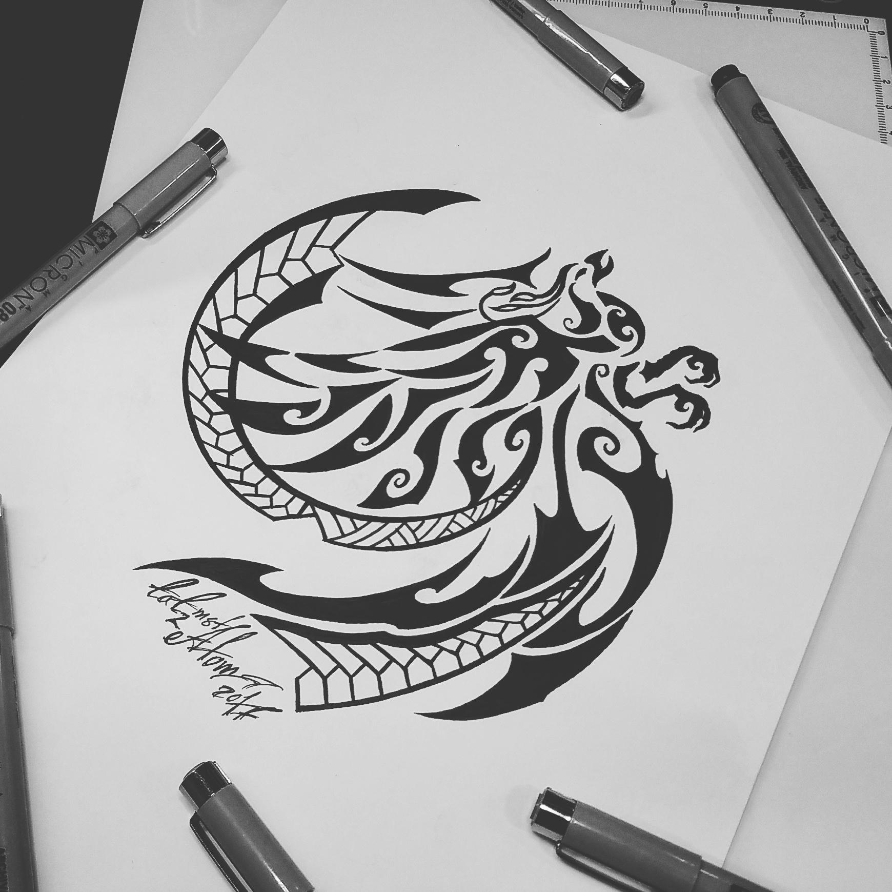 тату эскиз феникс полинезия