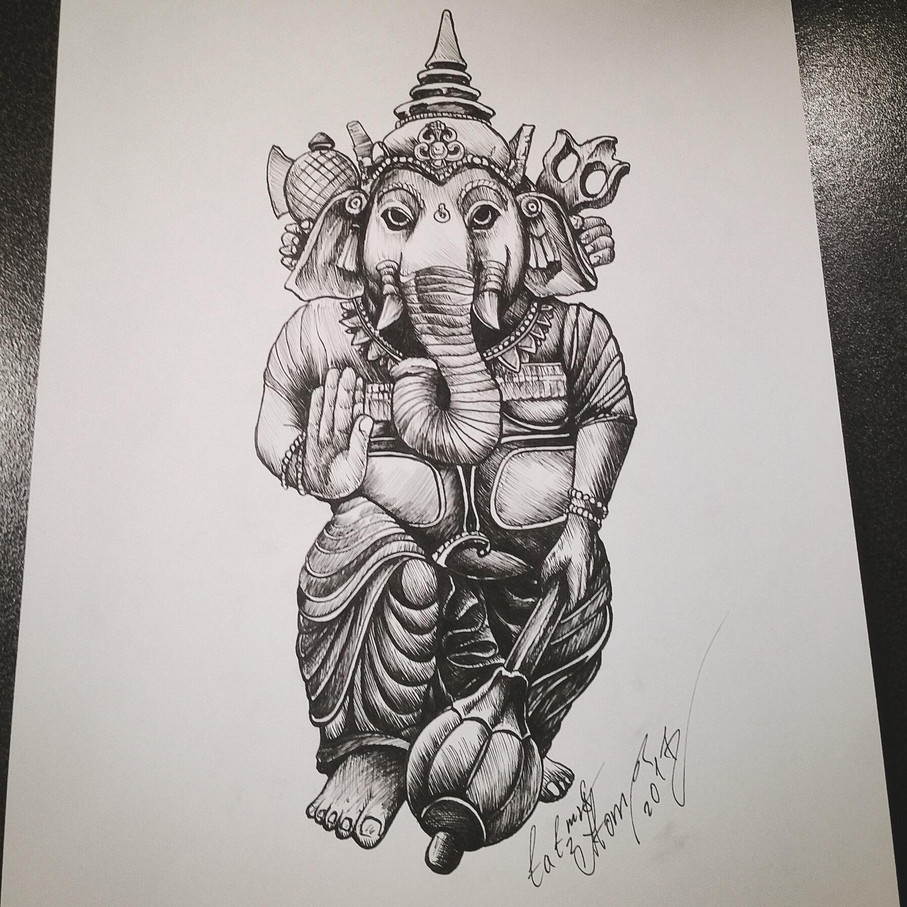 тату эскиз индийский бог