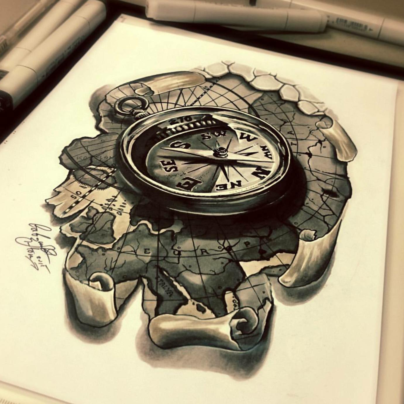 тату эскиз карта и компас