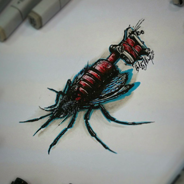 тату эскиз комарик
