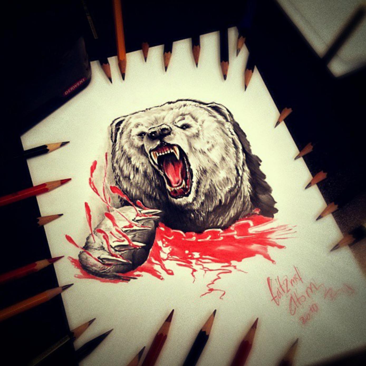 тату эскиз медведь и цепь