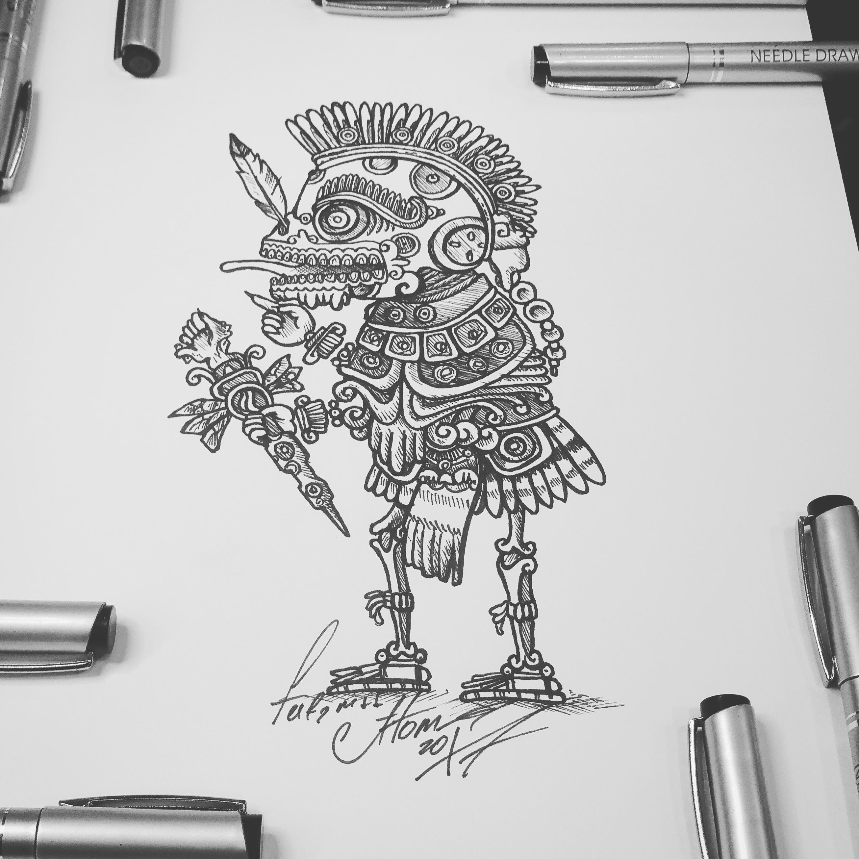 тату эскиз мексикансий бог