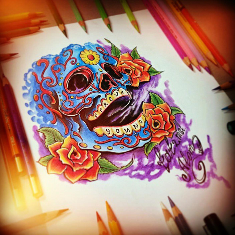 тату эскиз мексиканский череп