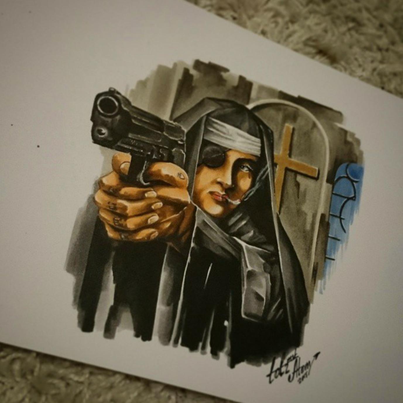 тату эскиз монашка и пистолет