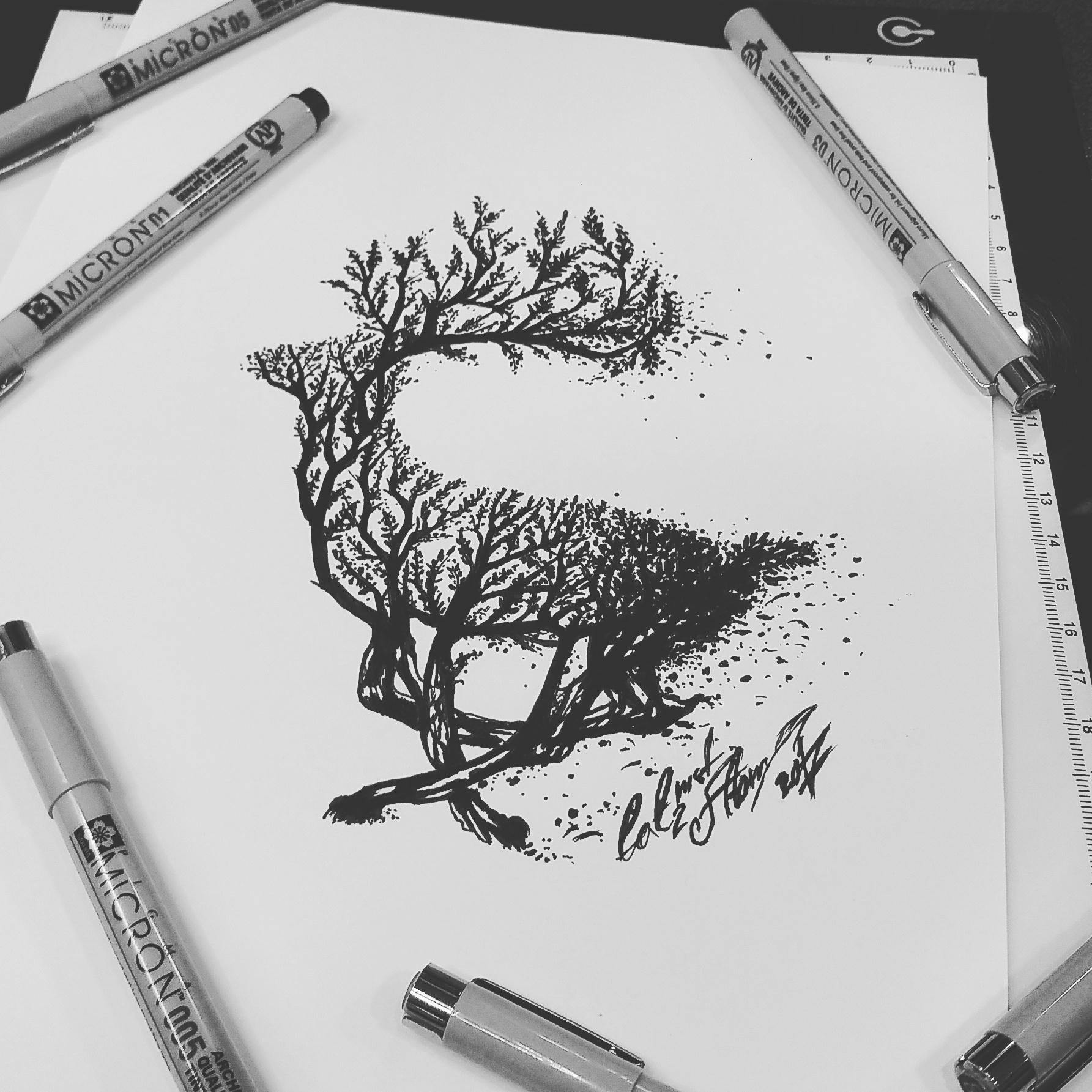 тату эскиз олень из леса