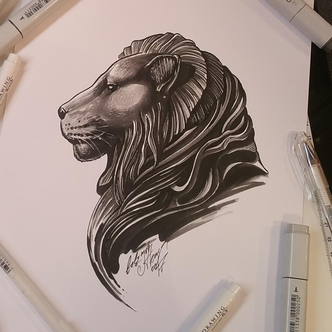 тату эскиз орнаментальный лев