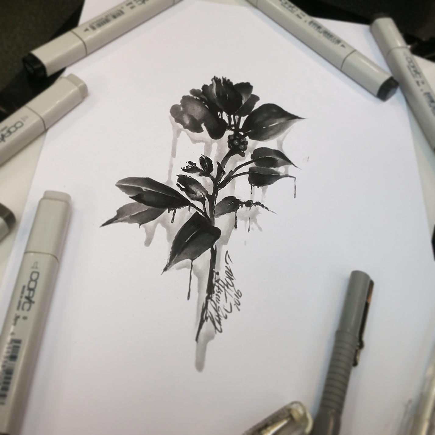 тату эскиз роза и подтеки