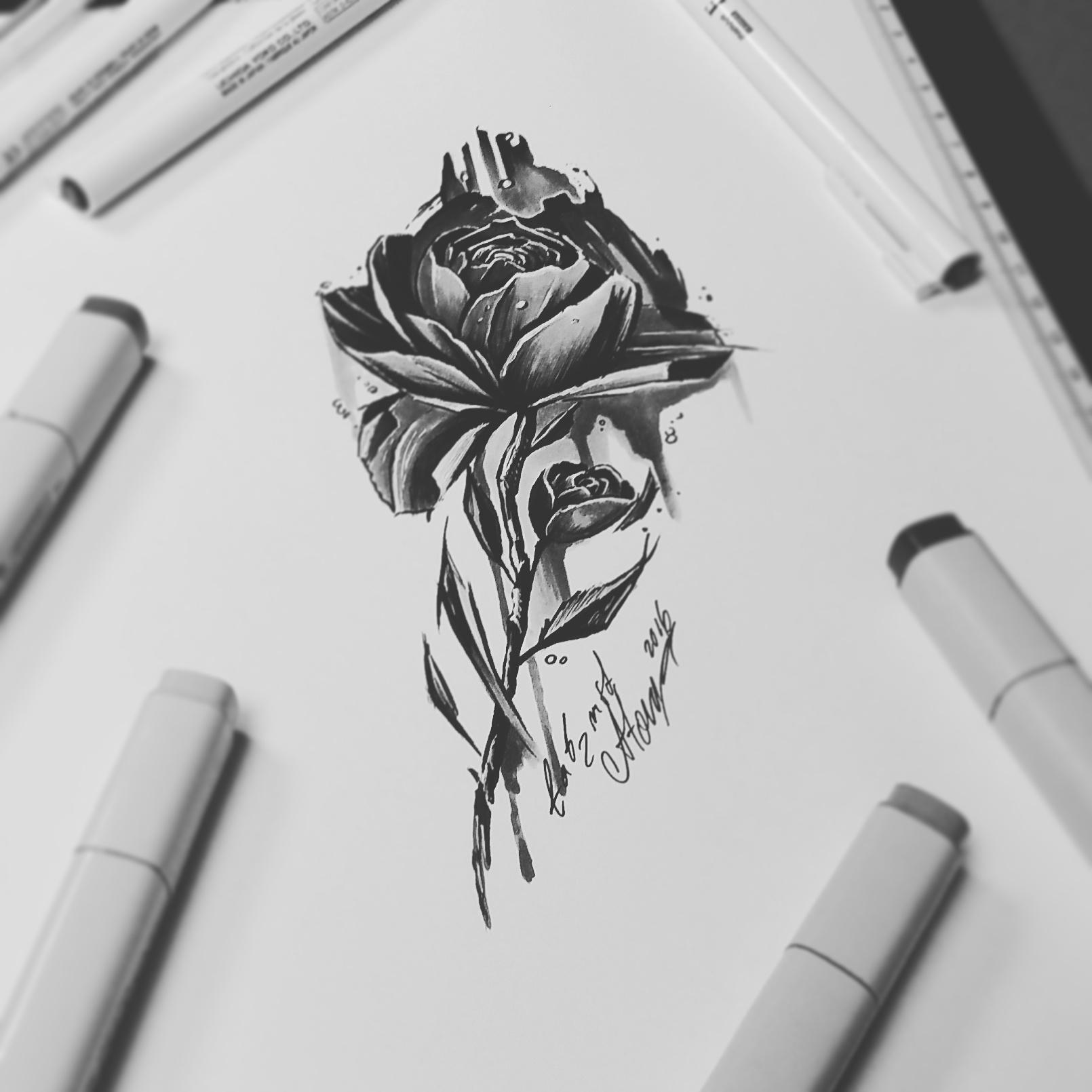 тату эскиз роза на ножке