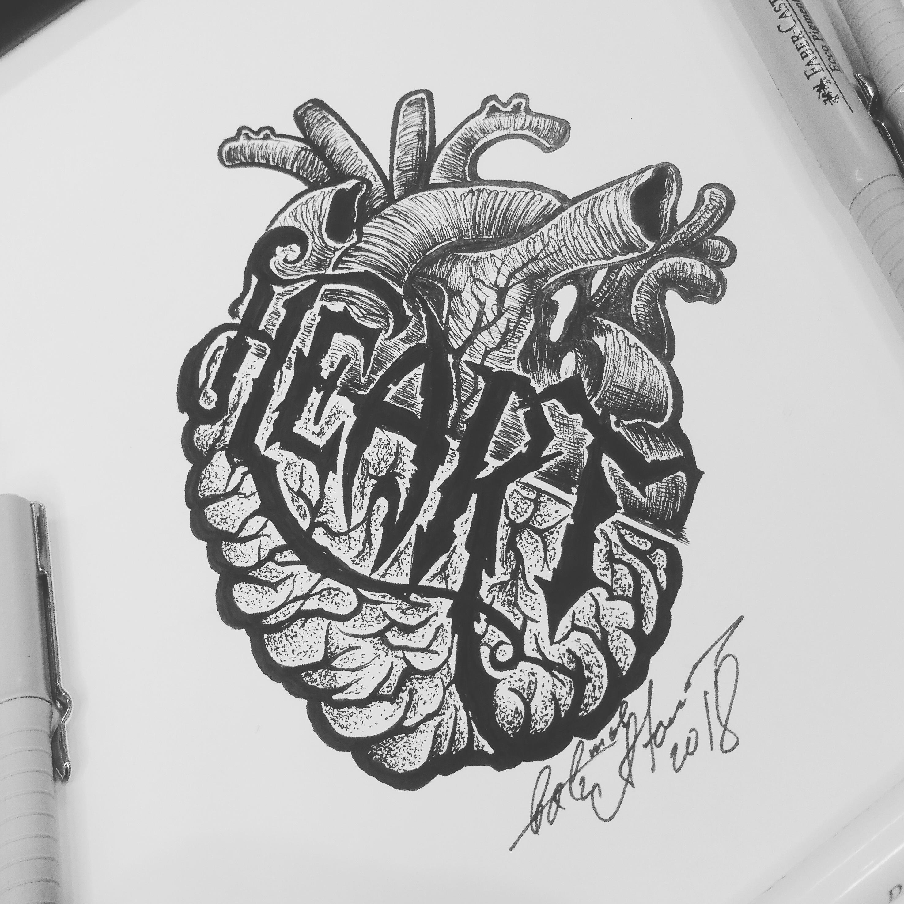 тату эскиз сердце