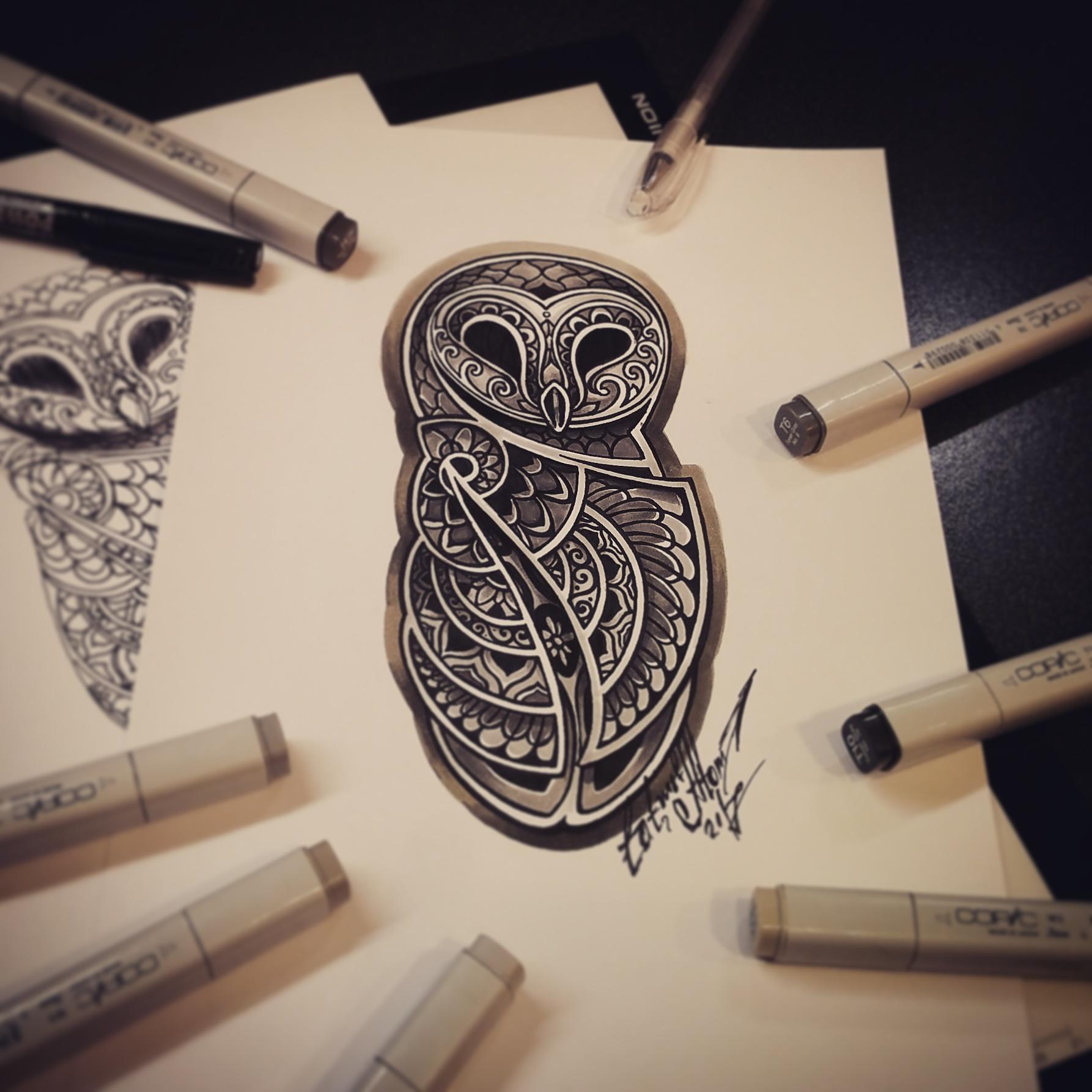 тату эскиз сова кельтский орнамент