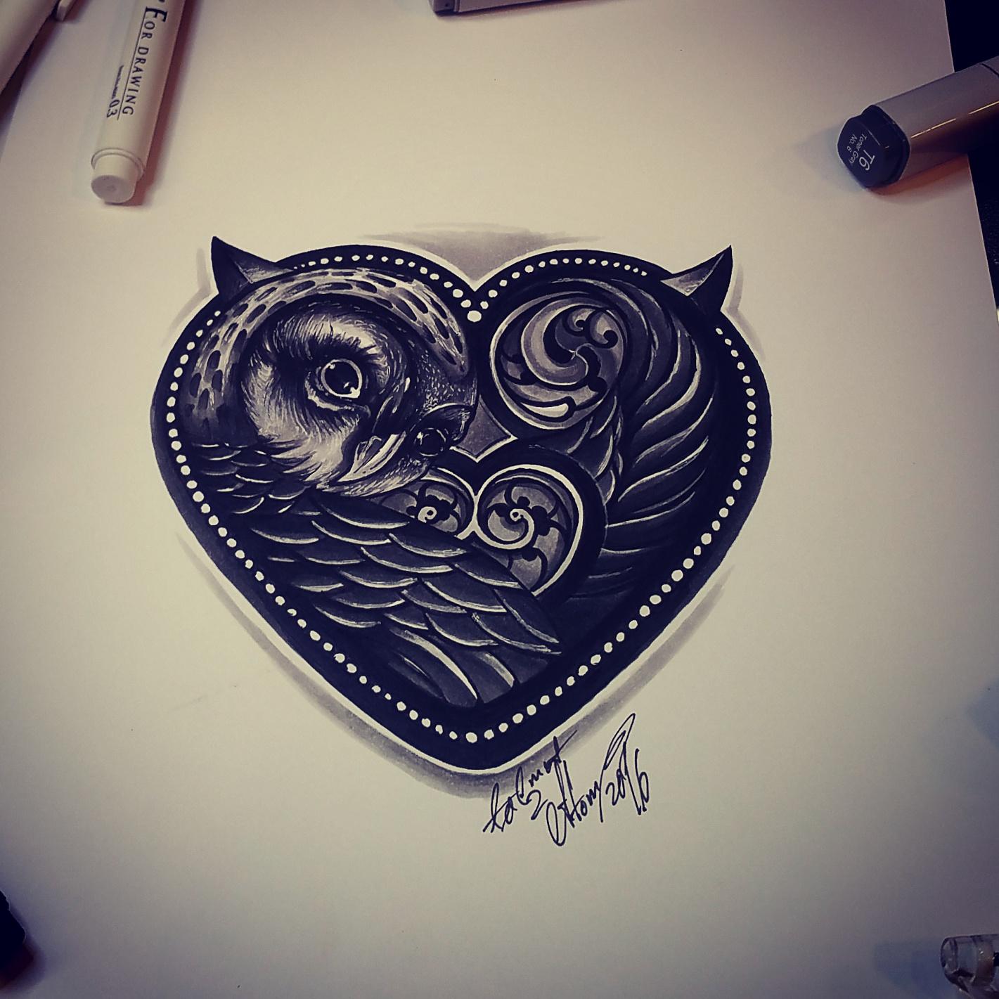тату эскиз сова в сердце