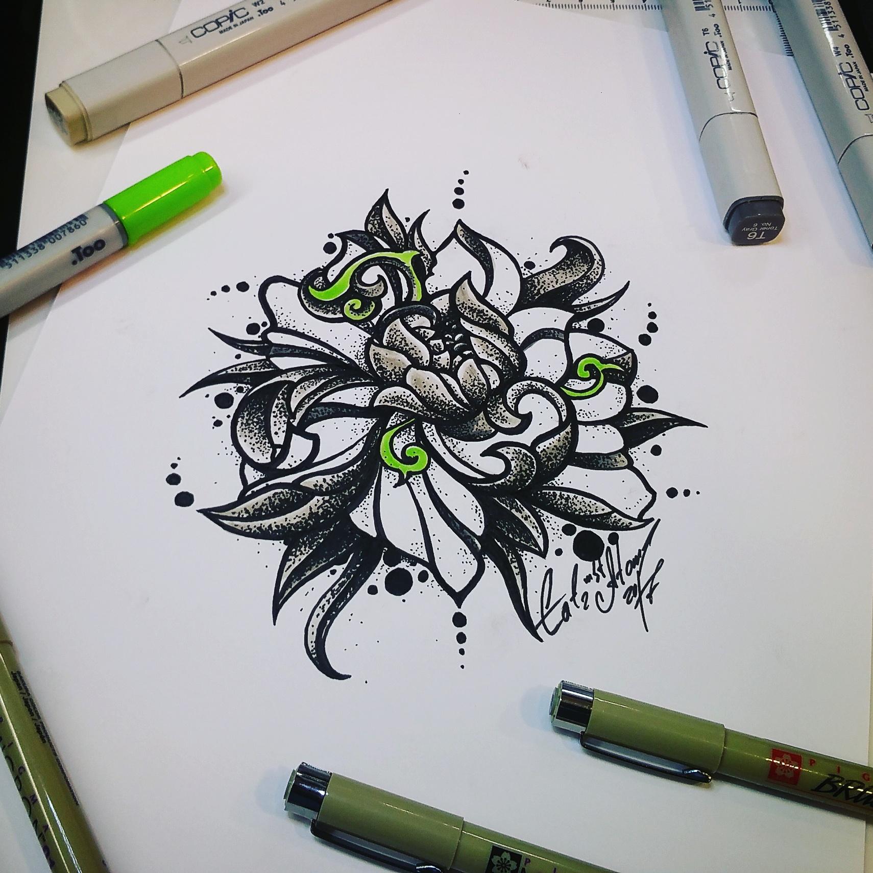 тату эскиз цветок дотворк