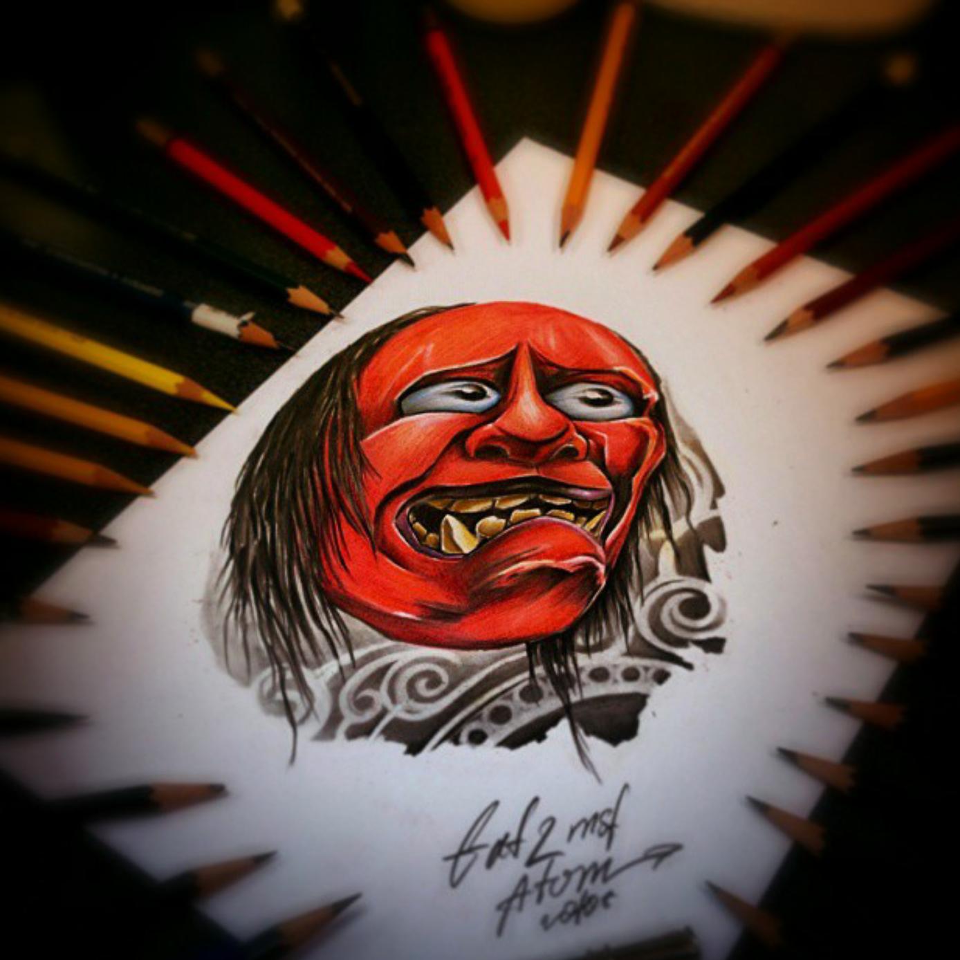 тату эскиз японская маска